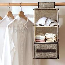 3 Shelf Hanging Wardrobe Bag Clothes Garment Drawer Closet Storage Organiser