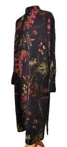 Weekday Size 38 UK 10 12 14 Black Floral Shrine Long Dress Stand Collar Modest