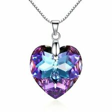 925 Silver Moonlight Purple Heart Necklace Valentine Love Swarovski Elements