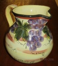 NAPA GRAPES HANDPAINTED PITCHER TableTops Unlimited Hand Painted Collection vase