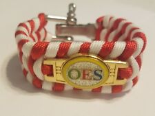 OES Red and White Survival Wristband - Eastern Star Bracelet - D Ring Clamp