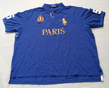 POLO RALPH LAUREN MEN'S BLUE POLO SHIRT PARIS EMBROIDERY BIG & TALL SIZE 3XB BIG