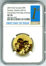 2019 $8 CANADA GOLD PLATE GILT SILVER NGC SP70 GOLDEN PANDA FIRST DAY ISSUE