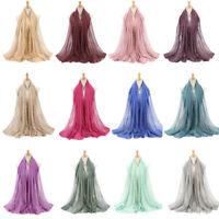 Women's Ladies Scarf Muffler Gold Stripe Rhinestones Glitter Scarves Hijab Wraps