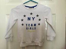 Girls White Next Sweatshirt Age 6 Years 100% cotton with logo on the front.