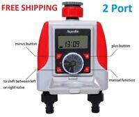 2 Port Electronic Water Timer, Waterproof Irrigation Controller, Solenoid Valve