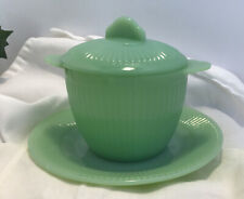 VTG Fire King Jadeite Green Jane Ray 2-Handled Covered Sugar Bowl + Saucer
