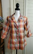 Kathy Scoggin Sz 12 Plaid Button Front Shirt