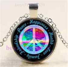 Peace Symbol And Tree of Life Cabochon Glass Tibet Silver Chain Necklace