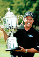 Phil MICKELSON Signed Autograph 12x8 GOLF Photo USPGA WINNER AFTAL COA