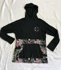 Boys Thin Black Hooded Top With Pink And Green Hawaiian Print Sz L EUC