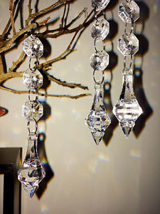 Clear Acrylic Pendants Hanging Bead Strand Wedding Decor - 20 Strands