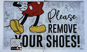 """Disney Mickey Mouse Please Remove Shoes Welcome Rubber Mat 18""""X30"""" Outdoor New"""