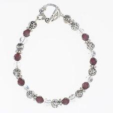 Beaded Garnet Crystal Silver Bracelet - Handmade January Birthstone Bracelet