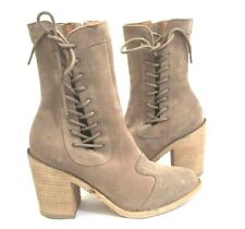 JEFFREY CAMPBELL SISPARA WOMENS TAUPE OILY SUEDE LEATHER ANKLE BOOTS 41 / 10 NIB