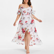 Plus Size Women Short Sleeve Cold Shoulder Flower Print Party Long Maxi Dress
