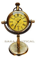 Nautical Victoria London Anchor Wheel Table Brass Clock Office/Table Decor
