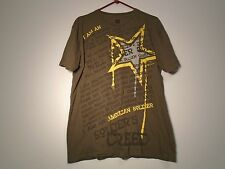 US ARMY T-SHIRT X-LARGE NEVER QUIT ARMY STRONG OD BROWN AMERICAN SOLDIER R-10