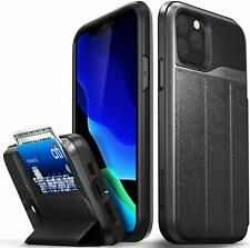 iPhone 11 Pro Wallet Case Solid Drop Protection Cover Card Slot Space Gray/Black