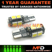 2X GREEN W5W 501 SIDELIGHT NUMBER PLATE INTERIOR REPEATER 9 SMD LED BULBS CANBUS