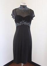 Vtg Stenay Black Mesh Cutout Collared Beaded Sequin Cocktail Evening Dress Sz 8