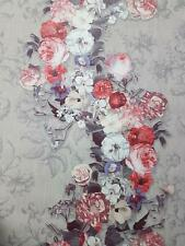 Grey Floral Wallpaper Purple Pink Red White Embossed Textured Vinyl Paste Wall