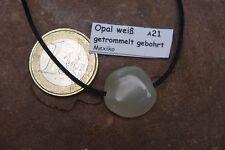 Opal Anhänger A21 ca.17 mm Milchopal Opal weiss gebohrt + Band weißer Opal