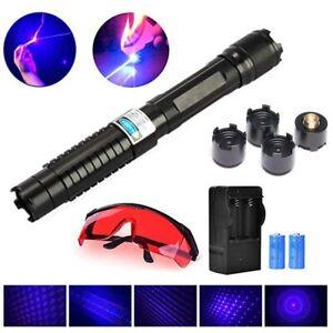 Blue Laser High Intensity Pointer Pen USB Rechargeable Flashlight Beam 1mW