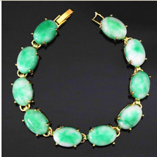 Pretty Natural Green Jade Gemstone gold-color chain bracelet 7.5inch