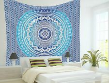 Indian Mandala Tapestry Blue Ombre Beach Throw Bohemian Wall Hanging Bedspread
