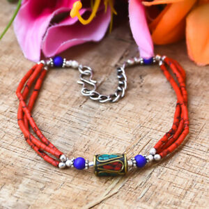 Marvelous  Red Coral With Turquoise Gemstone 925 Sterling Silver Bracelet