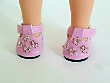 """Pink Flower Mary Jane Dress Shoe Fits 14.5"""" Wellie Wisher American Girl Clothes"""