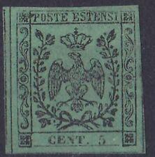 1852 MODENA 5 CENT VERDE SENZA PUNTO SENZA GOMMA (*) SASSONE 2019 n° 1 € 1.750