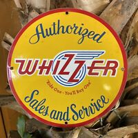 VINTAGE WHIZZER PORCELAIN METAL SIGN USA SALES SERVICE BICYCLE ENGINE GAS OIL