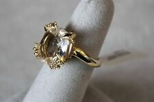 Alexis Bittar 18K Gold Clear Quartz, Sapphire, & Diamond Ring Sz 6  Rt. $1295.