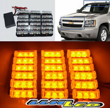 12V 54 LED AMBER EMERGENCY/HAZARD/WARNING STROBE LIGHTS KIT ON GRILLE/ROOF DIY N