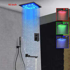 "ORB 16"" Rainfall LED Bath Shower Head Faucet Set Hand Spray Tub Spout Mixer Tap"