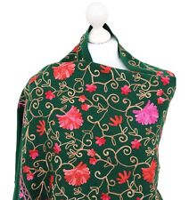 Women Embroidered Indian Shawl Wrap Winter Kashmir Machine Embroidery by Hand