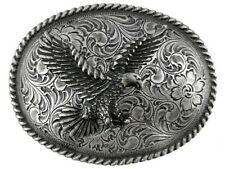 "Edge Oval Belt Buckle fits 1-1/2"" Western Cowboy Antique Engraved Eagle Rope"