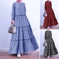 ZANZEA Womens Long Sleeve O Neck Check Plaid Layer Ruffles Party Prom Gown Dress