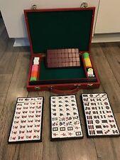 Deluxe Mah Jongg 4 Player Set Red Case Portable Exc Condition Retro Vintage VTG