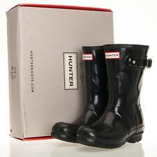 Hunter Original Short Black Gloss Rain Wellington Boots - Womens Size 6