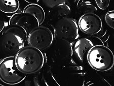 W791 Large 23mm 36L Black Polished 2 Hole Coat Jacket Craft Sewing Buttons