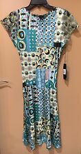 NWT Komarov Charmeuse/Lace Dress Turquoise Blue Green Size L Large