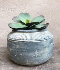 Large Round Grey Concrete Rustic Planter / Plant Pot Vase Stone