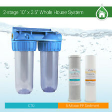 """2 Stage 10"""" Whole House Water Clear Filter Housing Sediment CTO /RVS.WELL.BOILER"""