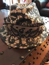 29cf9d672e1 NEW  460 DOLCE   GABBANA Hat Black Trilby Lace Silk Runway Floral Fedora ...