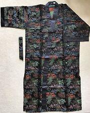 NEW - Asian Inspired Brocade Black Tea House Pattern Kimono Robe(8817)