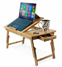"""Bamboo Adjustable Tray Laptop Holder Tablet Stand Up to 15"""" Folding Bed Table"""