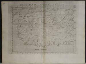 NORTHWEST AFRICA MEDITERRANEAN SEA 1564 PTOLEMY & RUSCELLI UNUSUAL ANTIQUE MAP